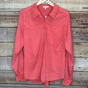 Maurices Long Sleeve Button Front Shirt Distressed